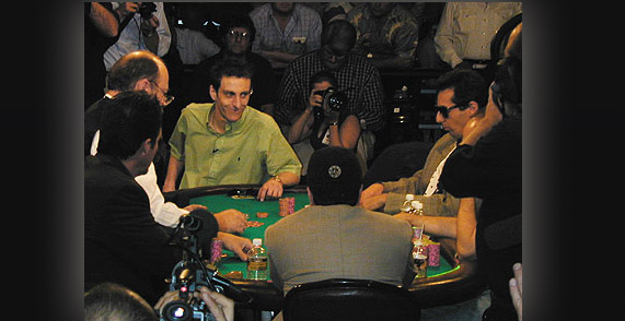 Julian Gardner at the Final Table of the World Series of Poker with eventual winner Robert Varkonyi