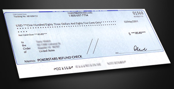 PokerStars Refund Check